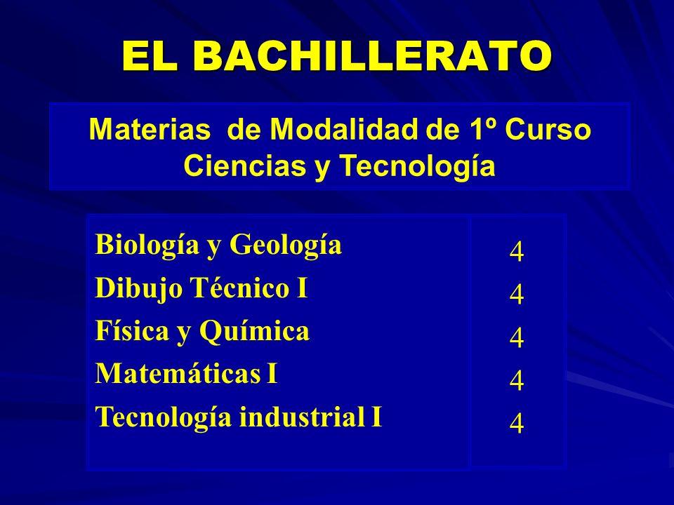 EL BACHILLERATO Materias de Modalidad de 1º Curso Ciencias y Tecnología Biología y Geología Dibujo Técnico I Física y Química Matemáticas I Tecnología
