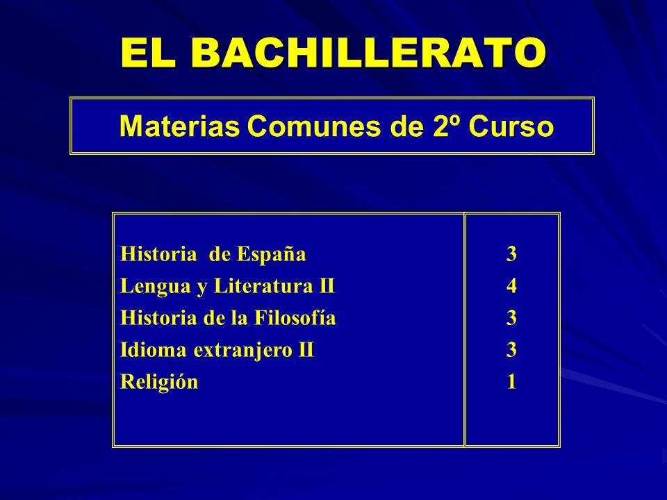 EL BACHILLERATO Materias Comunes de 2º Curso Historia de España Lengua y Literatura II Historia de la Filosofía Idioma extranjero II Religión 34331343