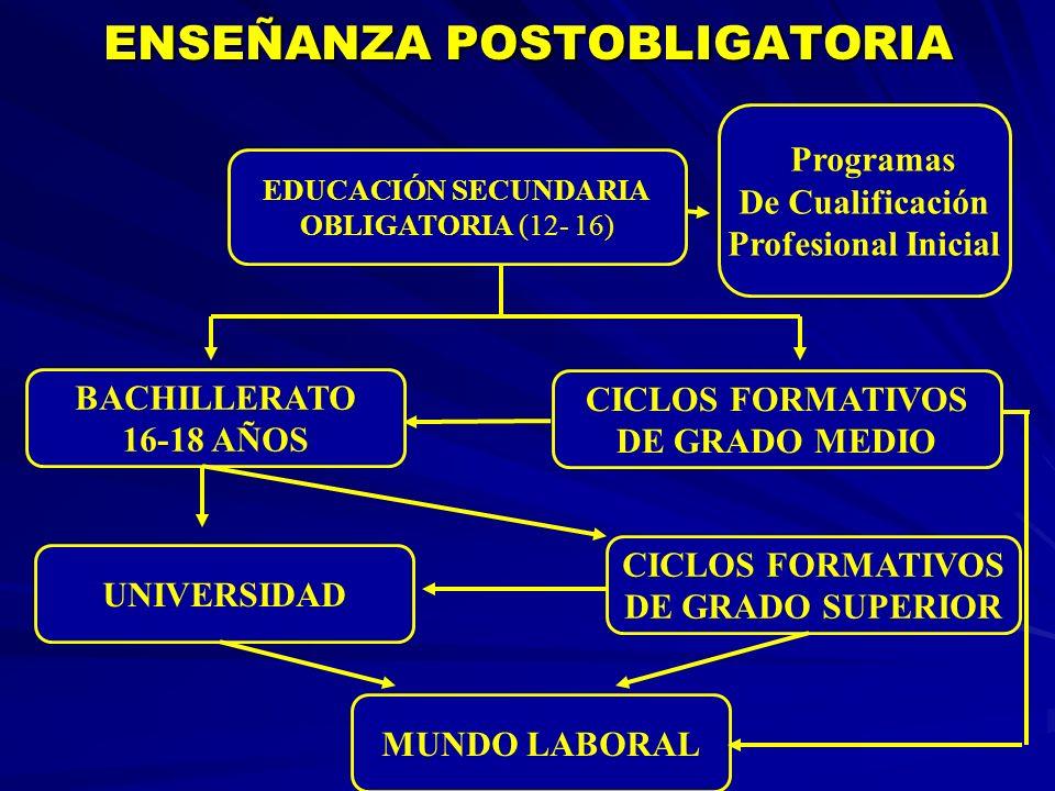 ENSEÑANZA POSTOBLIGATORIA ENSEÑANZA POSTOBLIGATORIA EDUCACIÓN SECUNDARIA OBLIGATORIA (12- 16) Programas De Cualificación Profesional Inicial CICLOS FO