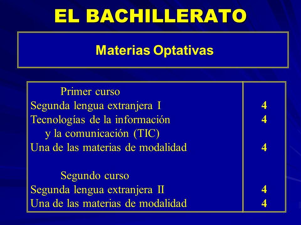 EL BACHILLERATO Materias Optativas Primer curso Segunda lengua extranjera I Tecnologías de la información y la comunicación (TIC) Una de las materias