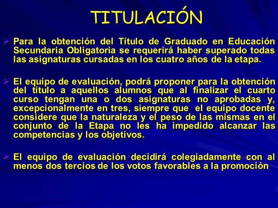 TITULACIÓN TITULACIÓN Para la obtención del Título de Graduado en Educación Secundaria Obligatoria se requerirá haber superado todas las asignaturas c