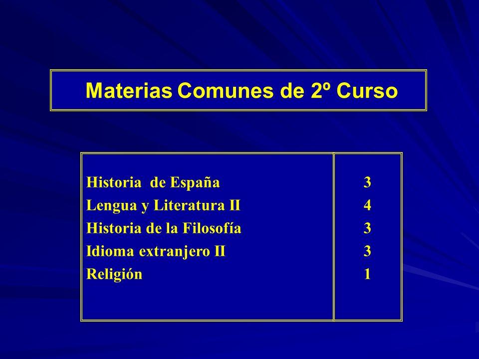 Materias Comunes de 2º Curso Historia de España Lengua y Literatura II Historia de la Filosofía Idioma extranjero II Religión 3433134331