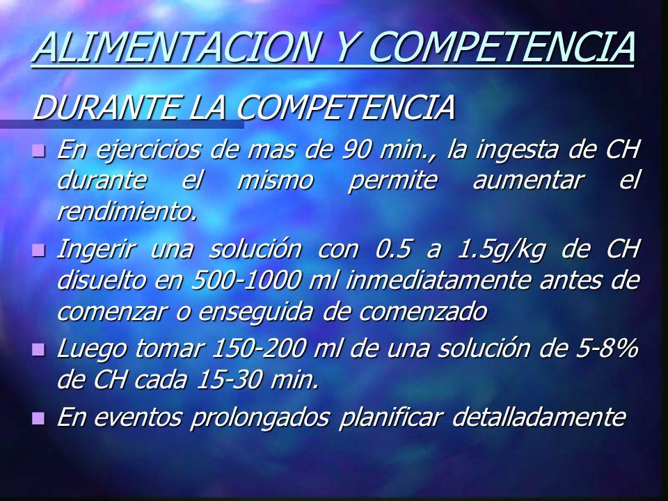 ALIMENTACION Y COMPETENCIA DURANTE LA COMPETENCIA En ejercicios de mas de 90 min., la ingesta de CH durante el mismo permite aumentar el rendimiento.