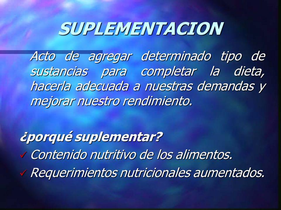 SUPLEMENTACION Acto de agregar determinado tipo de sustancias para completar la dieta, hacerla adecuada a nuestras demandas y mejorar nuestro rendimie