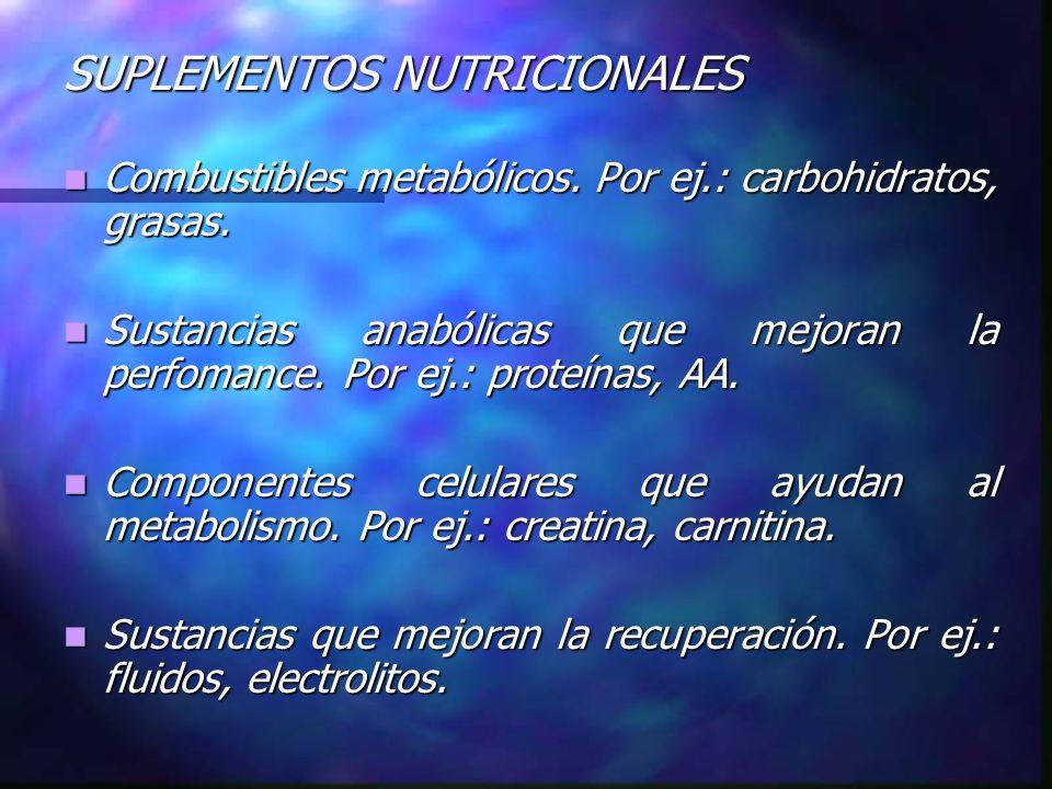 SUPLEMENTOS NUTRICIONALES Combustibles metabólicos. Por ej.: carbohidratos, grasas. Combustibles metabólicos. Por ej.: carbohidratos, grasas. Sustanci