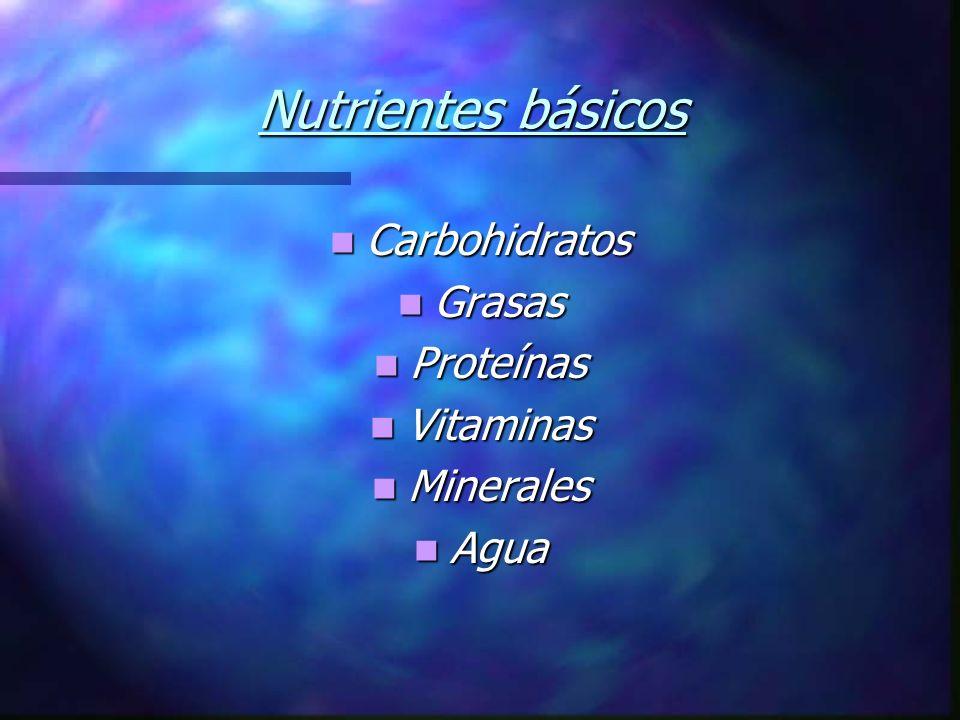 Nutrientes básicos Carbohidratos Carbohidratos Grasas Grasas Proteínas Proteínas Vitaminas Vitaminas Minerales Minerales Agua Agua