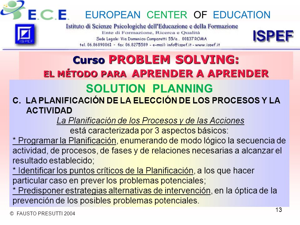 13 Curso PROBLEM SOLVING: EL MÉTODO PARA APRENDER A APRENDER SOLUTION PLANNING C.
