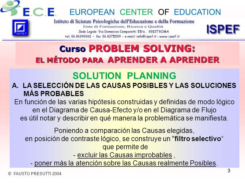 4 Curso PROBLEM SOLVING: EL MÉTODO PARA APRENDER A APRENDER SOLUTION PLANNING A.