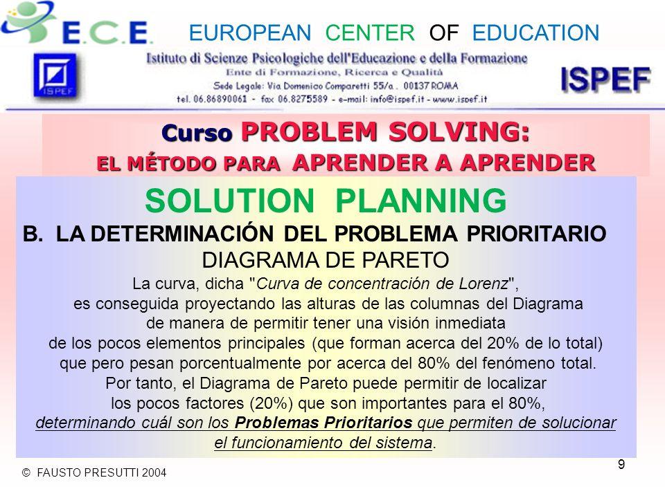 10 Curso PROBLEM SOLVING: EL MÉTODO PARA APRENDER A APRENDER SOLUTION PLANNING B.LA DETERMINACIÓN DEL PROBLEMA PRIORITARIO DIAGRAMA DE PARETO El análisis de Pareto es una potente técnica de soporte a la acción del Problem Solving, generalmente representado como Diagrama a columnas, que permite localizar, sobre bases objetivas, las prioridades de intervención en la solución de los problemas evidenciando, entre una serie de causas, las que inciden principalmente en el fenómeno en examen.