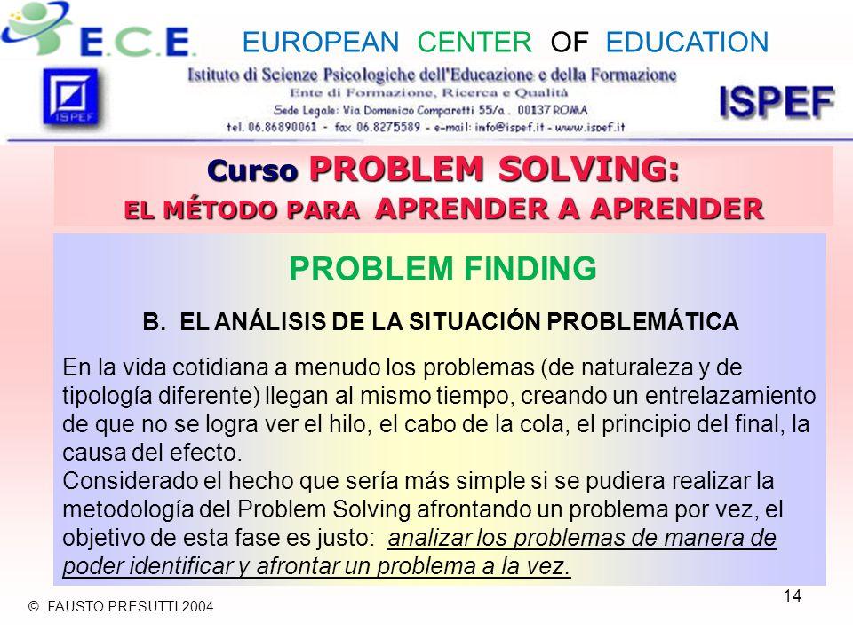 14 Curso PROBLEM SOLVING: EL MÉTODO PARA APRENDER A APRENDER PROBLEM FINDING B. EL ANÁLISIS DE LA SITUACIÓN PROBLEMÁTICA En la vida cotidiana a menudo