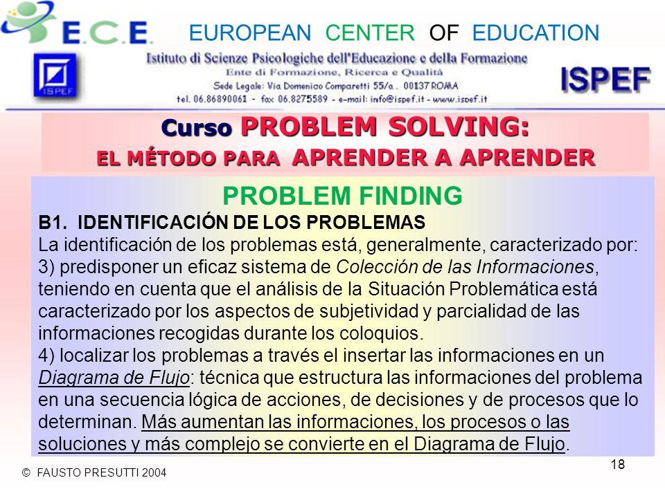 18 Curso PROBLEM SOLVING: EL MÉTODO PARA APRENDER A APRENDER PROBLEM FINDING B1. IDENTIFICACIÓN DE LOS PROBLEMAS La identificación de los problemas es