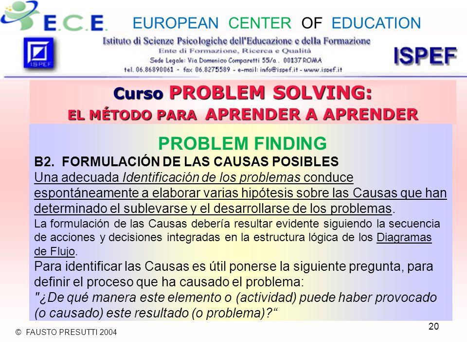 20 Curso PROBLEM SOLVING: EL MÉTODO PARA APRENDER A APRENDER PROBLEM FINDING B2. FORMULACIÓN DE LAS CAUSAS POSIBLES Una adecuada Identificación de los