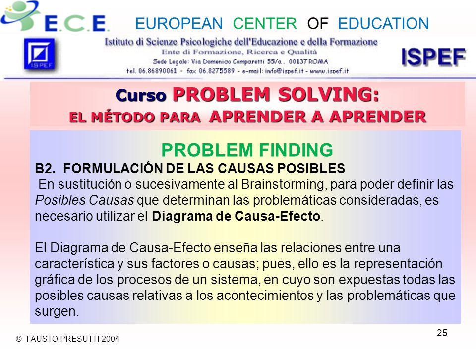 25 Curso PROBLEM SOLVING: EL MÉTODO PARA APRENDER A APRENDER PROBLEM FINDING B2. FORMULACIÓN DE LAS CAUSAS POSIBLES En sustitución o sucesivamente al