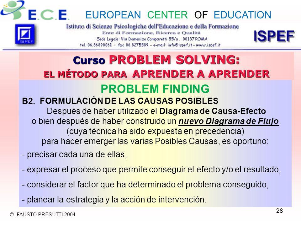 28 Curso PROBLEM SOLVING: EL MÉTODO PARA APRENDER A APRENDER PROBLEM FINDING B2. FORMULACIÓN DE LAS CAUSAS POSIBLES Después de haber utilizado el Diag