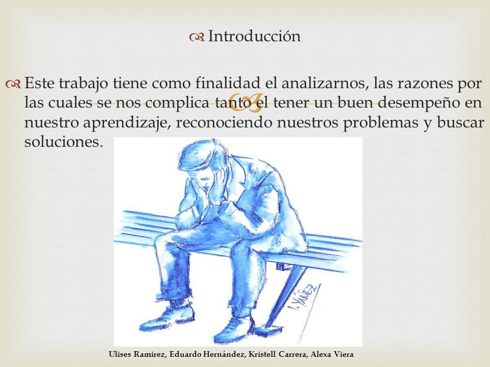 Introducción Este trabajo tiene como finalidad el analizarnos, las razones por las cuales se nos complica tanto el tener un buen desempeño en nuestro