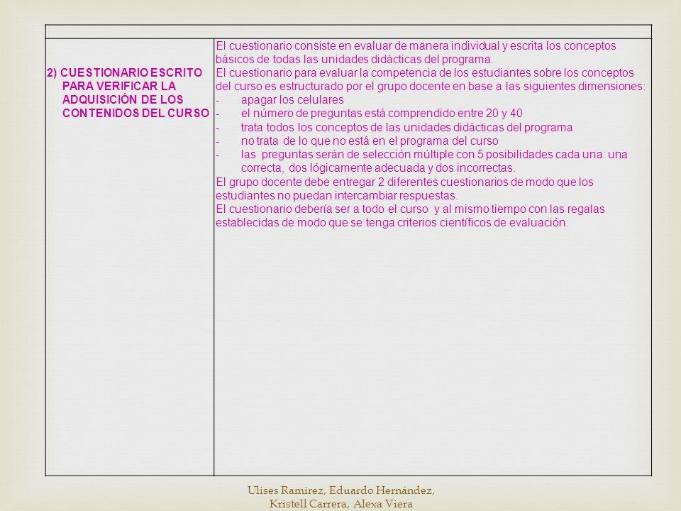 2) CUESTIONARIO ESCRITO PARA VERIFICAR LA ADQUISICIÓN DE LOS CONTENIDOS DEL CURSO El cuestionario consiste en evaluar de manera individual y escrita l