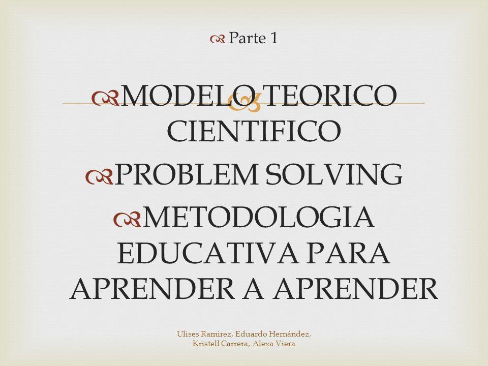 Parte 1 MODELO TEORICO CIENTIFICO PROBLEM SOLVING METODOLOGIA EDUCATIVA PARA APRENDER A APRENDER Ulises Ramirez, Eduardo Hernández, Kristell Carrera,