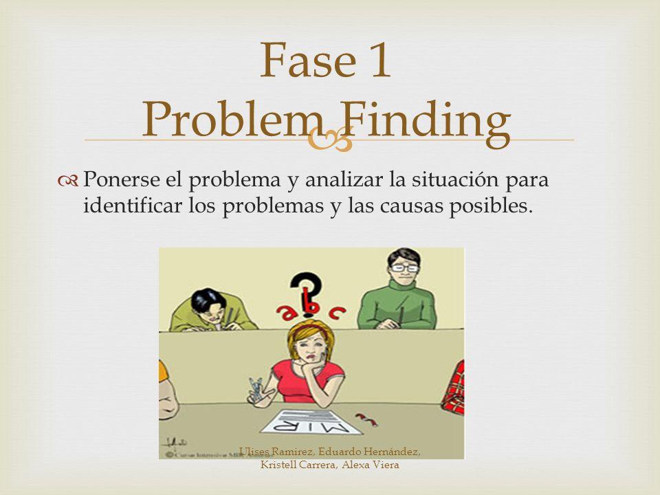 Ponerse el problema y analizar la situación para identificar los problemas y las causas posibles. Fase 1 Problem Finding Ulises Ramirez, Eduardo Herná