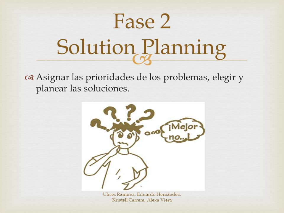 Asignar las prioridades de los problemas, elegir y planear las soluciones. Fase 2 Solution Planning Ulises Ramirez, Eduardo Hernández, Kristell Carrer