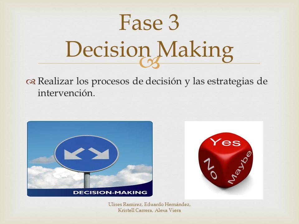 Realizar los procesos de decisión y las estrategias de intervención. Fase 3 Decision Making Ulises Ramirez, Eduardo Hernández, Kristell Carrera, Alexa