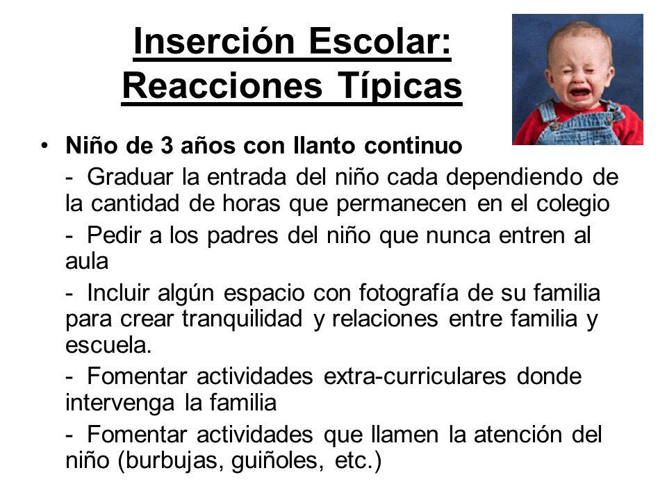 Inserción Escolar: Reacciones Típicas Niño de 3 años con llanto continuo - Graduar la entrada del niño cada dependiendo de la cantidad de horas que pe
