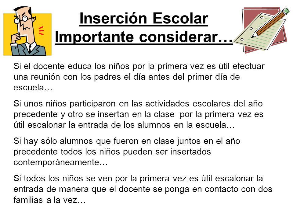Inserción Escolar Importante considerar… Si el docente educa los niños por la primera vez es útil efectuar una reunión con los padres el día antes del