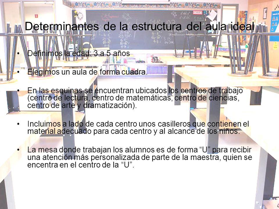 Determinantes de la estructura del aula ideal Definimos la edad: 3 a 5 años Elegimos un aula de forma cuadra. En las esquinas se encuentran ubicados l