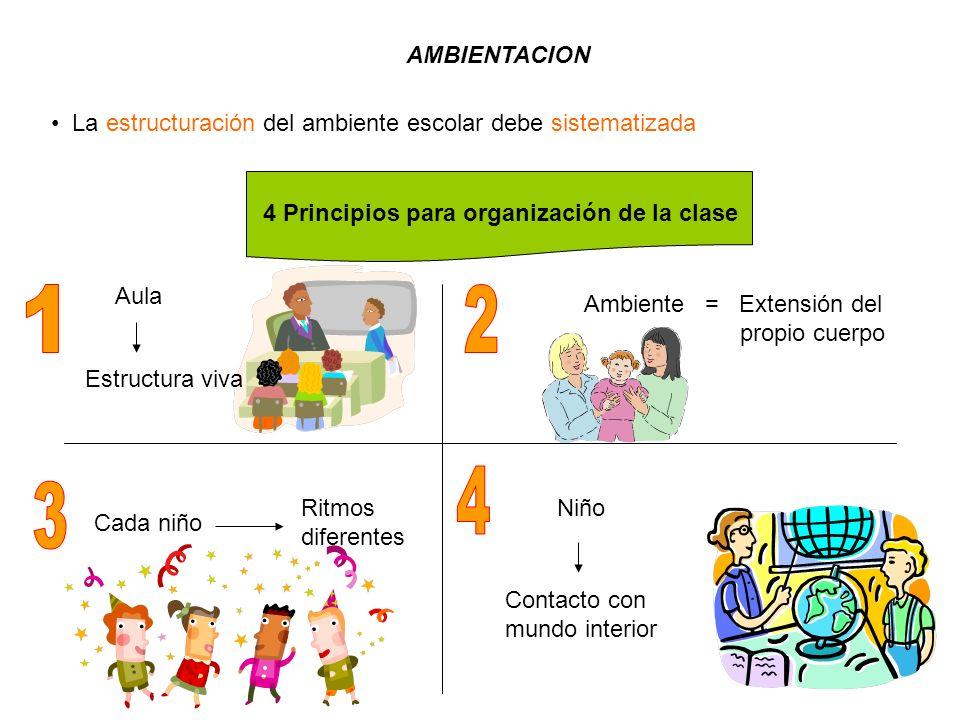 AMBIENTACION La estructuración del ambiente escolar debe sistematizada 4 Principios para organización de la clase Aula Ambiente = Extensión del propio cuerpo Cada niño Niño Contacto con mundo interior Ritmos diferentes Estructura viva