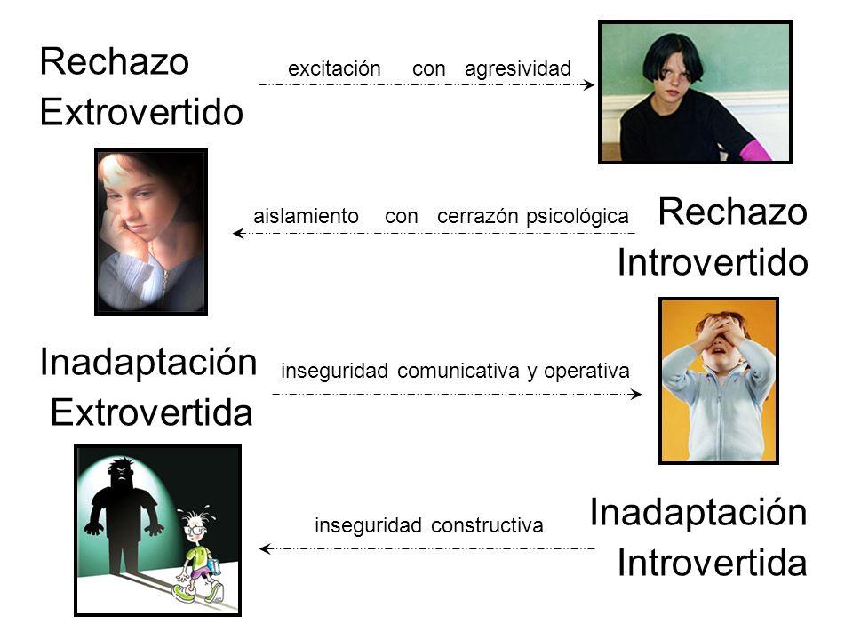 Rechazo Extrovertido Rechazo Introvertido Inadaptación Extrovertida Inadaptación Introvertida excitación con agresividad aislamiento con cerrazón psicológica inseguridad comunicativa y operativa inseguridad constructiva