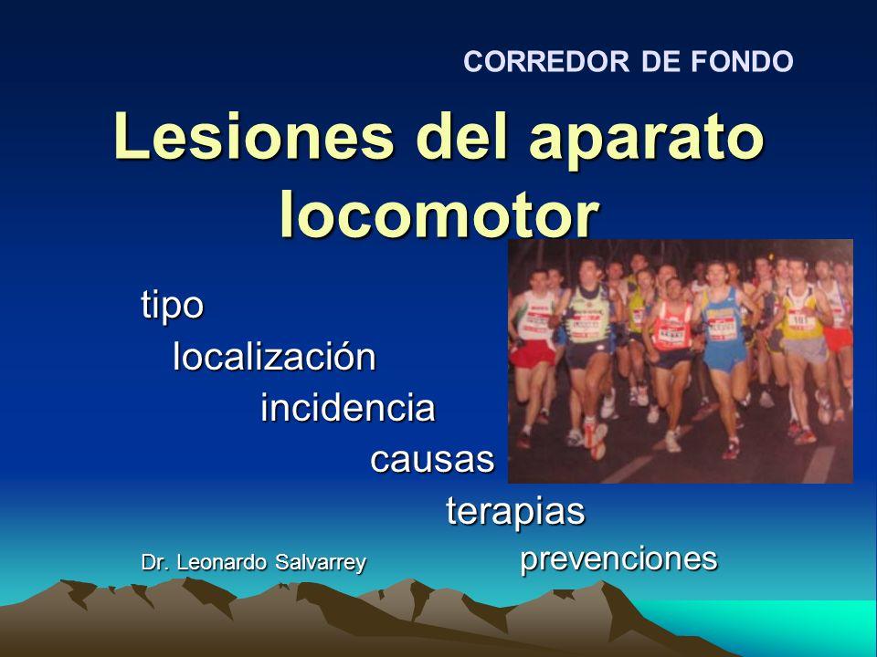 Lesiones del aparato locomotor tipo localización localización incidencia incidencia causas causas terapias terapias Dr. Leonardo Salvarrey prevencione