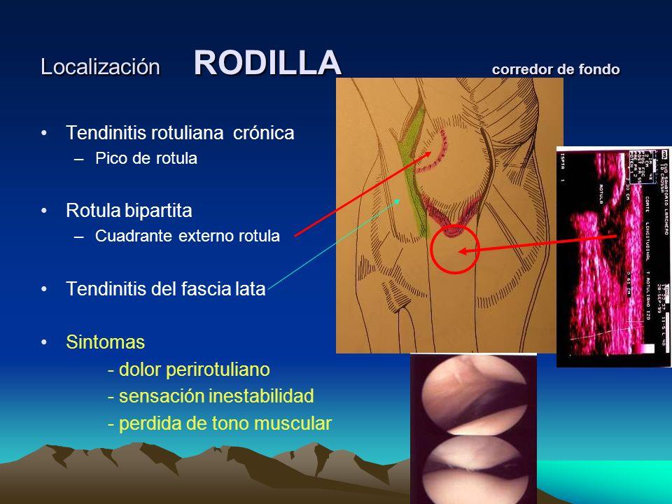 Localización RODILLA corredor de fondo Tendinitis rotuliana crónica –Pico de rotula Rotula bipartita –Cuadrante externo rotula Tendinitis del fascia l