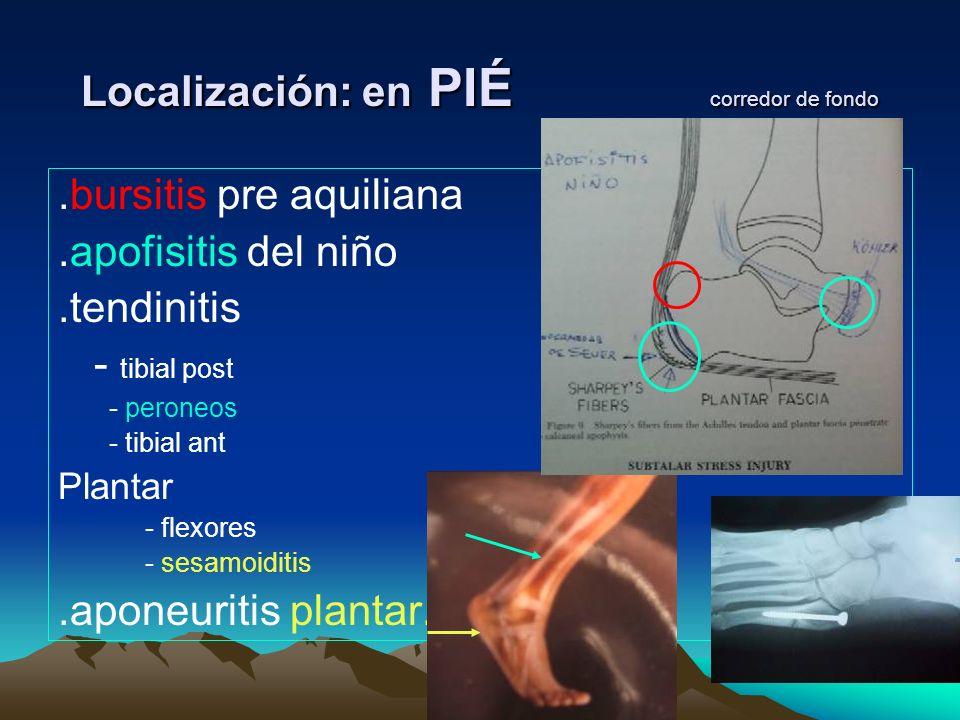 Localización: en PIÉ corredor de fondo.bursitis pre aquiliana.apofisitis del niño.tendinitis - tibial post - peroneos - tibial ant Plantar - flexores