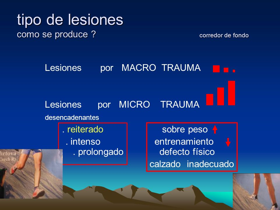 tipo de lesiones como se produce ? corredor de fondo Lesiones por MACRO TRAUMA Lesiones por MICRO TRAUMA desencadenantes. reiterado sobre peso. intens