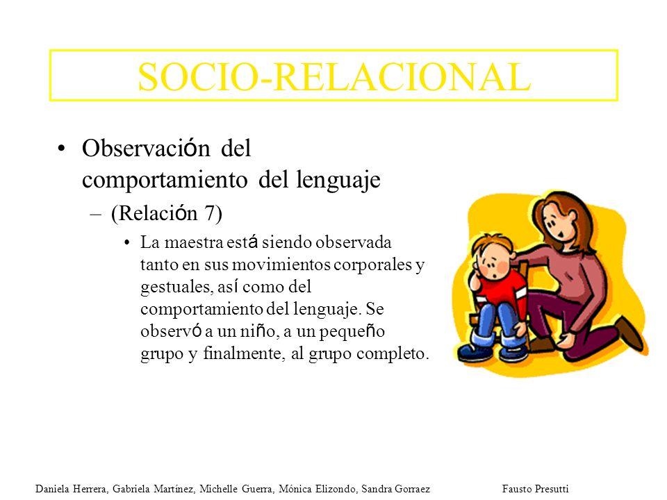 SOCIO-RELACIONAL Observaci ó n del comportamiento del lenguaje –(Relaci ó n 7) La maestra est á siendo observada tanto en sus movimientos corporales y