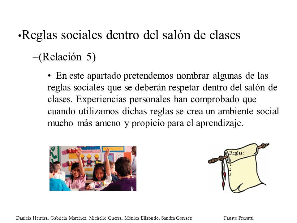 Reglas sociales dentro del salón de clases –(Relación 5) En este apartado pretendemos nombrar algunas de las reglas sociales que se deberán respetar d