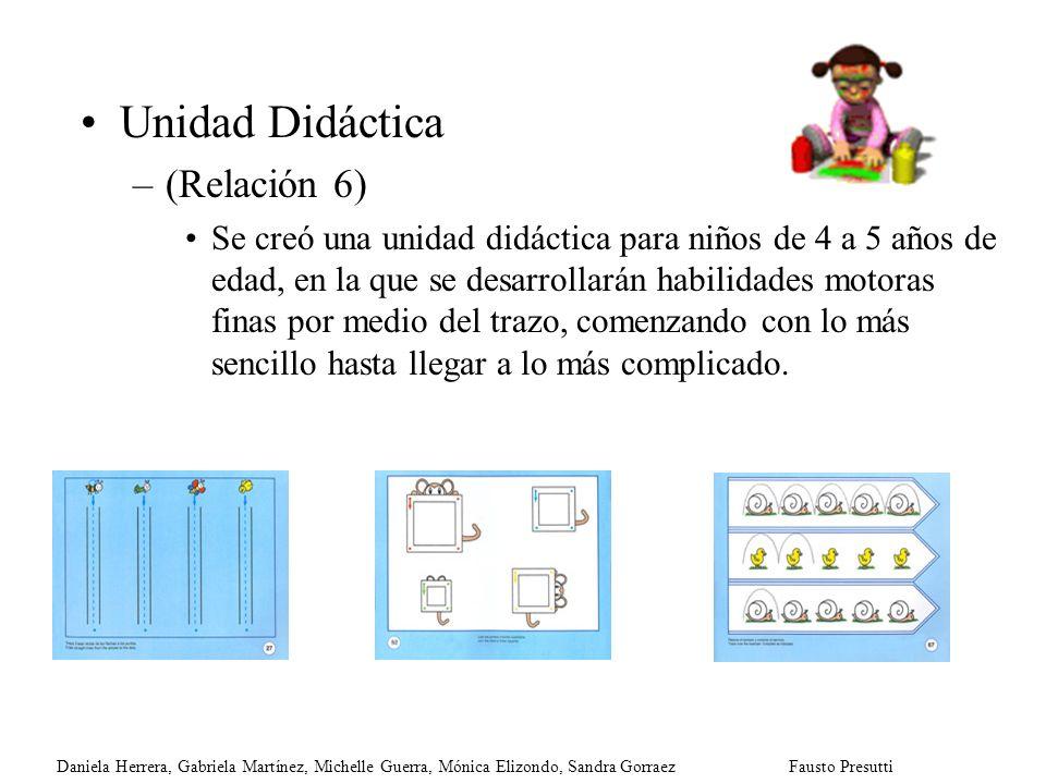 Unidad Didáctica –(Relación 6) Se creó una unidad didáctica para niños de 4 a 5 años de edad, en la que se desarrollarán habilidades motoras finas por