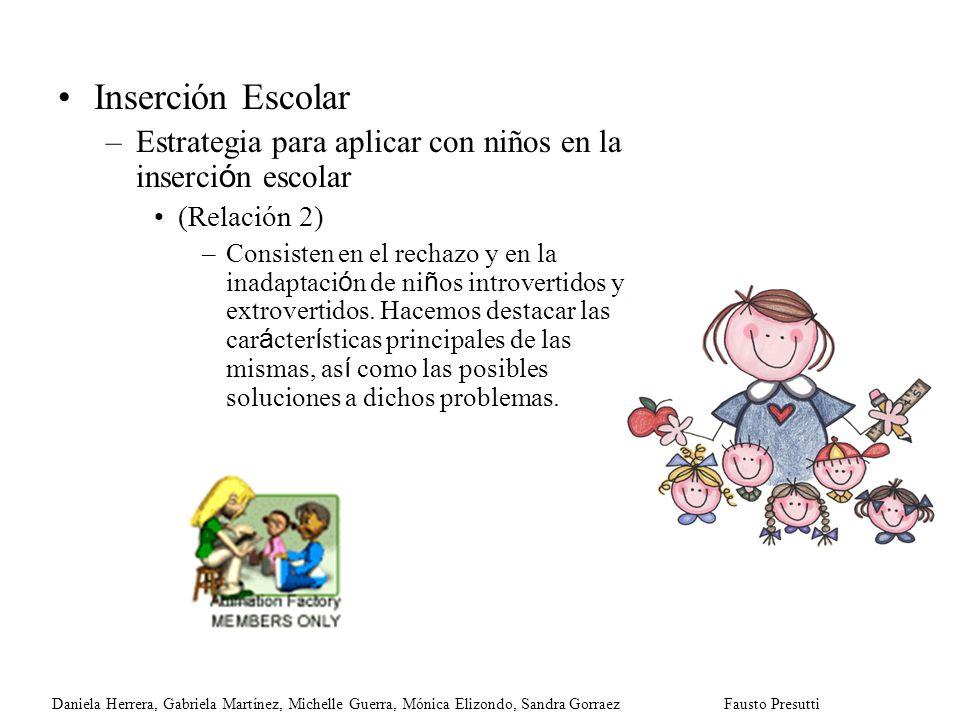 Inserción Escolar –Estrategia para aplicar con niños en la inserci ó n escolar (Relación 2) –Consisten en el rechazo y en la inadaptaci ó n de ni ñ os