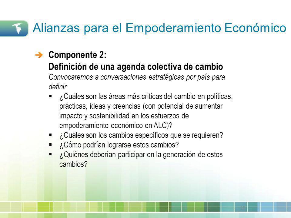 12 Componente 2: Definición de una agenda colectiva de cambio Convocaremos a conversaciones estratégicas por país para definir ¿Cuáles son las áreas m