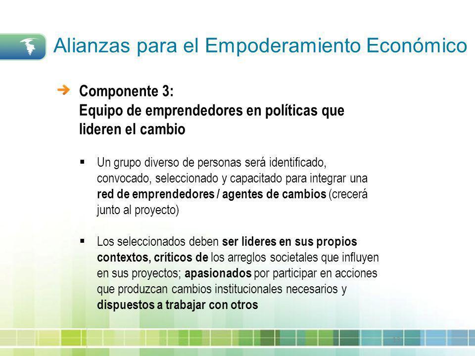 13 Componente 3: Equipo de emprendedores en políticas que lideren el cambio Un grupo diverso de personas será identificado, convocado, seleccionado y