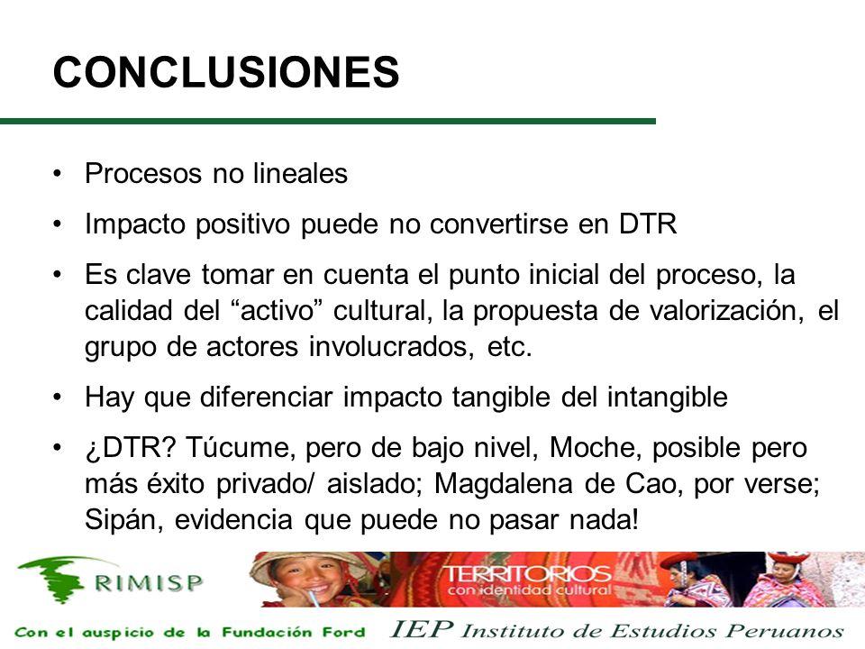 CONCLUSIONES Procesos no lineales Impacto positivo puede no convertirse en DTR Es clave tomar en cuenta el punto inicial del proceso, la calidad del activo cultural, la propuesta de valorización, el grupo de actores involucrados, etc.
