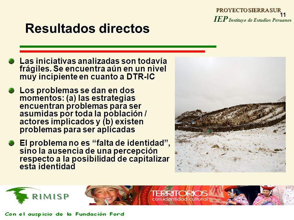 PROYECTO SIERRA SUR IEP Instituyo de Estudios Peruanos PROYECTO SIERRA SUR 11 Resultados directos Las iniciativas analizadas son todavía frágiles. Se