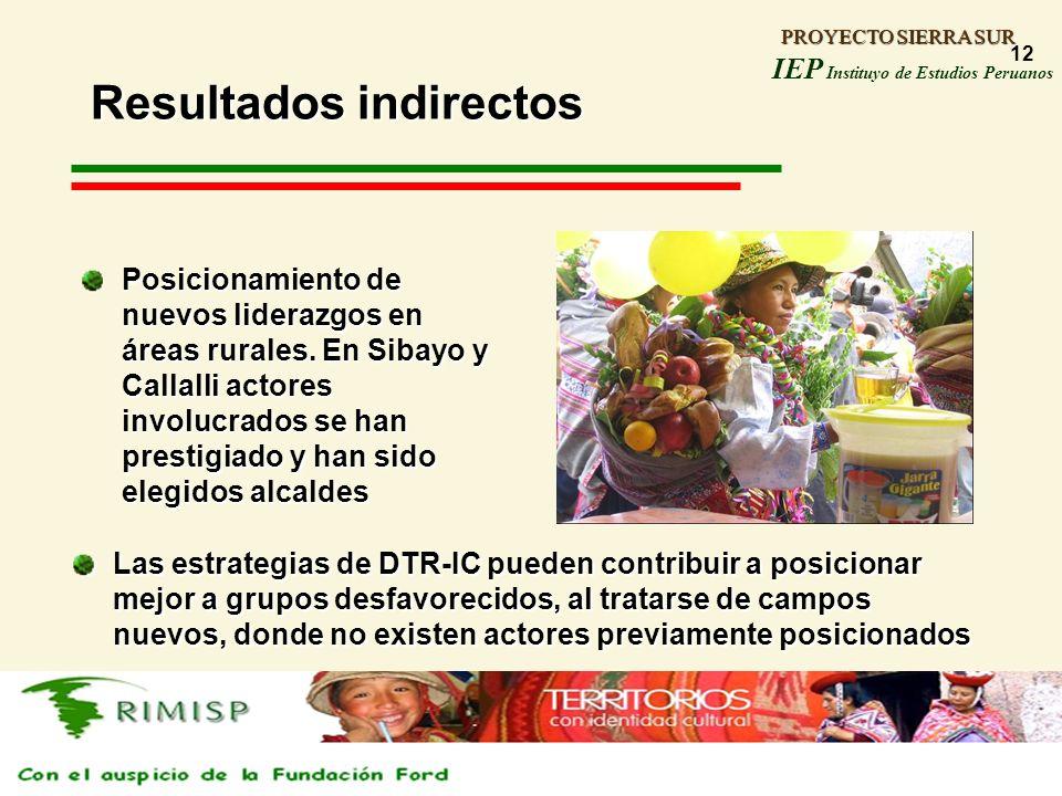 PROYECTO SIERRA SUR IEP Instituyo de Estudios Peruanos PROYECTO SIERRA SUR 12 Resultados indirectos Posicionamiento de nuevos liderazgos en áreas rura