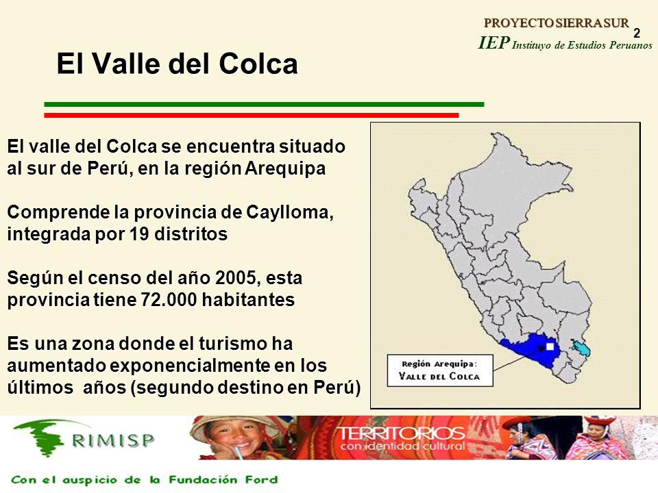 PROYECTO SIERRA SUR IEP Instituyo de Estudios Peruanos PROYECTO SIERRA SUR 2 El Valle del Colca El valle del Colca se encuentra situado al sur de Perú