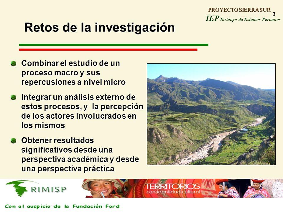 PROYECTO SIERRA SUR IEP Instituyo de Estudios Peruanos PROYECTO SIERRA SUR 3 Retos de la investigación Combinar el estudio de un proceso macro y sus r