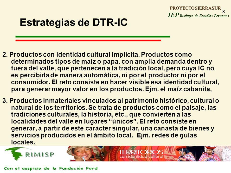 PROYECTO SIERRA SUR IEP Instituyo de Estudios Peruanos PROYECTO SIERRA SUR 8 Estrategias de DTR-IC 2. Productos con identidad cultural implícita. Prod