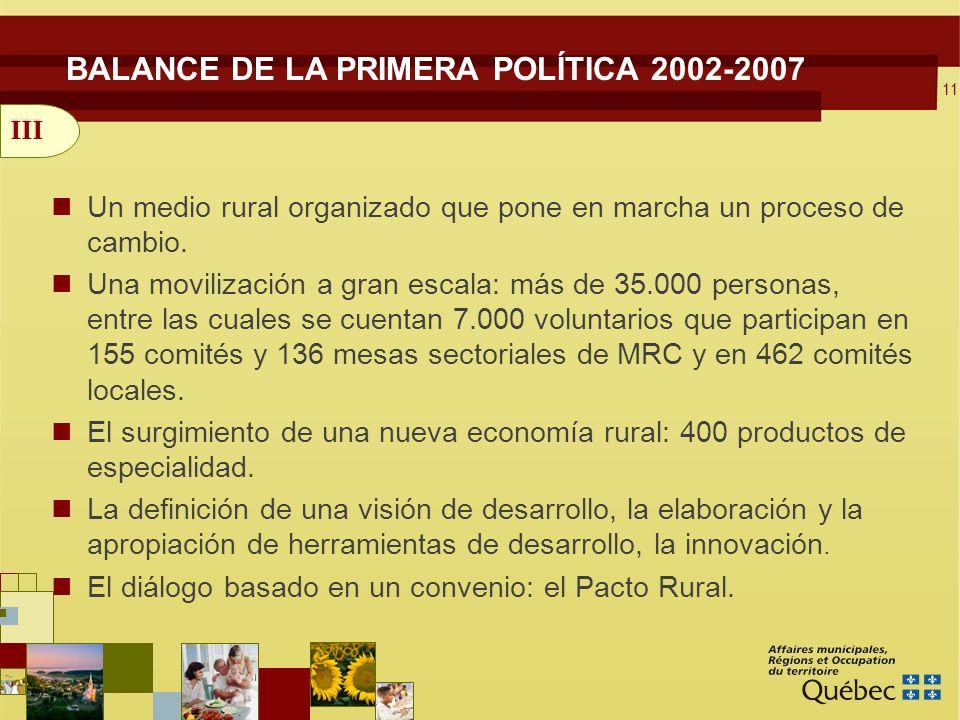 11 BALANCE DE LA PRIMERA POLÍTICA 2002-2007 Un medio rural organizado que pone en marcha un proceso de cambio.