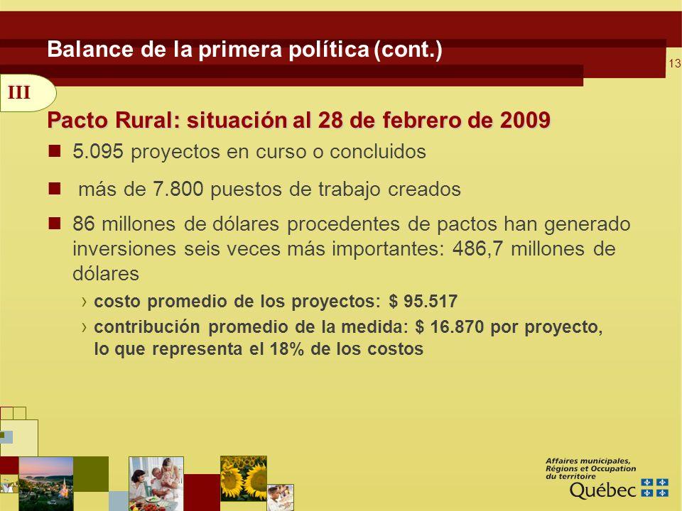 13 Balance de la primera política (cont.) Pacto Rural: situación al 28 de febrero de 2009 5.095 proyectos en curso o concluidos más de 7.800 puestos de trabajo creados 86 millones de dólares procedentes de pactos han generado inversiones seis veces más importantes: 486,7 millones de dólares costo promedio de los proyectos: $ 95.517 contribución promedio de la medida: $ 16.870 por proyecto, lo que representa el 18% de los costos III