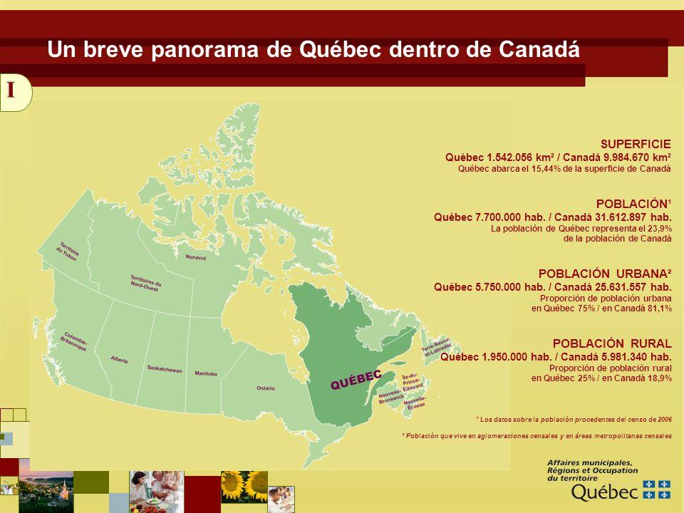 3 Un breve panorama de Québec dentro de Canadá I ¹ Los datos sobre la población procedentes del censo de 2006 SUPERFICIE Québec 1.542.056 km² / Canadá 9.984.670 km² Québec abarca el 15,44% de la superficie de Canadá POBLACIÓN¹ Québec 7.700.000 hab.