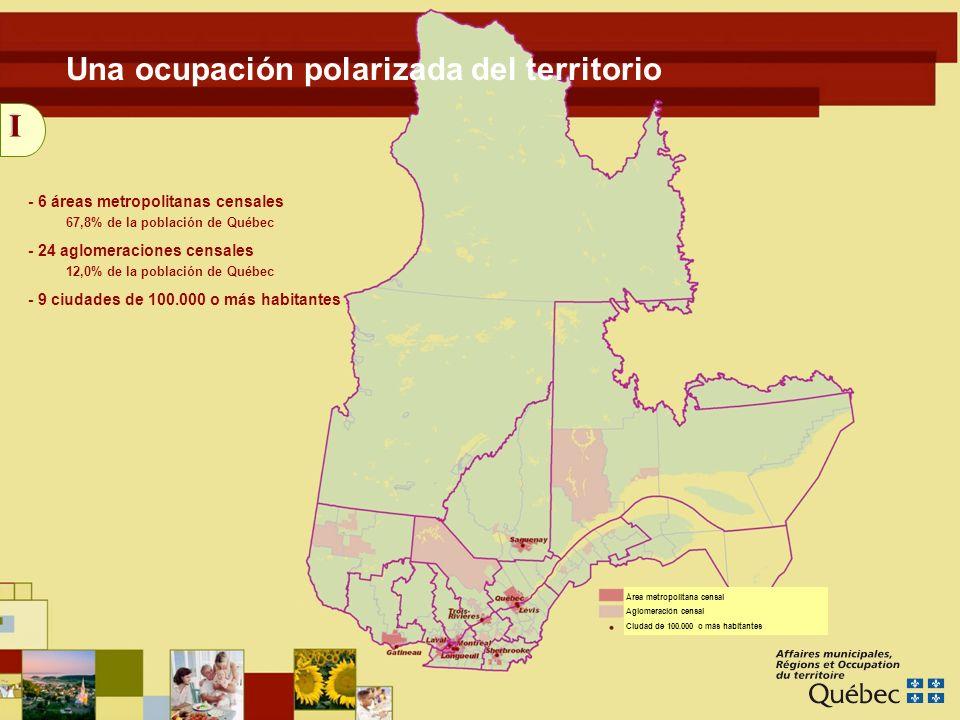 5 I - 6 áreas metropolitanas censales - 24 aglomeraciones censales - 9 ciudades de 100.000 o más habitantes Una ocupación polarizada del territorio 67,8% de la población de Québec 12,0% de la población de Québec Área metropolitana censal Aglomeración censal Ciudad de 100.000 o más habitantes