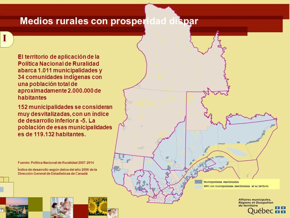 17 Medios renovados El Pacto Rural Continuidad: contrato con las MRC, presupuesto total incrementado Presupuesto total incrementado: de 86 millones de dólares para 5 años a 213 millones de dólares para 7 años Duración: de abril de 2007 a marzo de 2014 Los agentes de desarrollo rural Presupuesto indexado en 25 millones de dólares para 7 años Pasa de 104 a 136 agentes, mínimo de un agente por MRC Distribución en función del total de municipalidades y de la cantidad de municipalidades desvitalizadas Obligación: financiación paritaria ($ 25.000) MRC/Gobierno IV